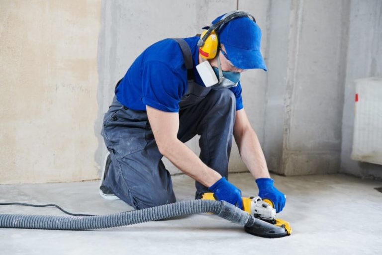 using an angle grinder to polish concrete